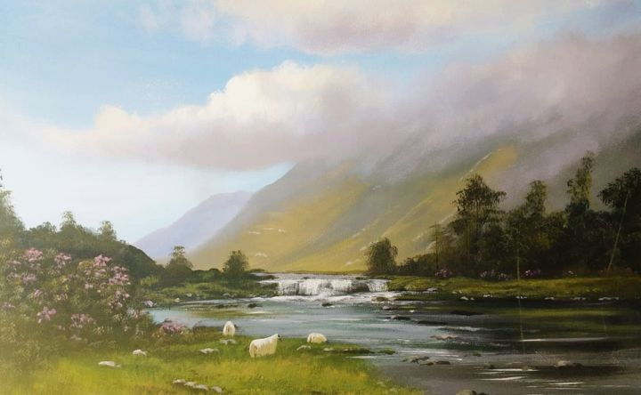 aashleagh falls sept - Painting,  19.5x27.5x2 in ©2018 by Cathal O Malley -                                                            Realism, Canvas, Landscape, aashleagh, falls, west, ireland, sheep, water, trees, irish, art, painting