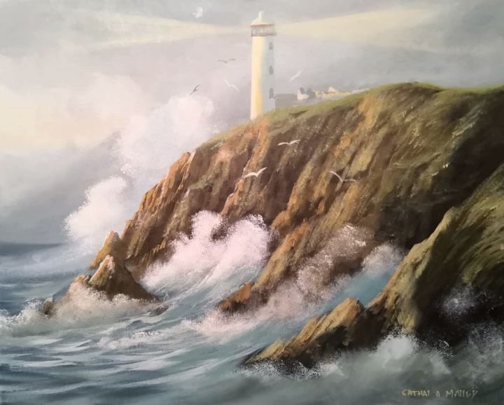 wild atlantic - Painting,  16x20x2 in ©2018 by Cathal O Malley -                                                            Realism, Canvas, Seascape, fanad, lighthouse, donegal, west, ireland, waves, rocks