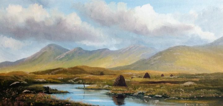 the twelve bens,,,connemara - Painting,  12x24x0.2 in ©2018 by Cathal O Malley -                                                            Photorealism, Canvas, Landscape, twelve, bens, connemara, irish, painting, mountains, clouds, bogland, turf, west, art