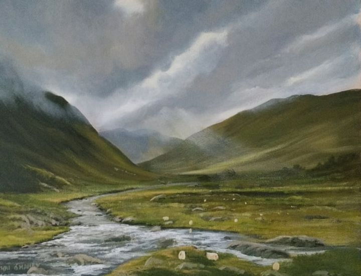 Glenummera river - Painting,  16x20x2 in ©2018 by Cathal O Malley -                                                            Photorealism, Canvas, Landscape, river, ireland, west, mountains, light, water, rocks, hills, clouids