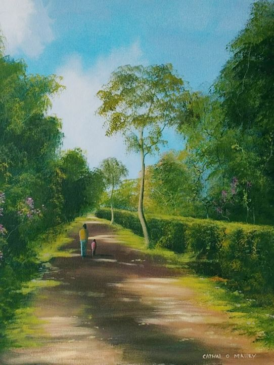 summer walk - Painting,  20x16x2 in ©2018 by Cathal O Malley -                                                            Realism, Canvas, Landscape, light, summer, walk, trees, sunshine, road, leaves, irish, ireland