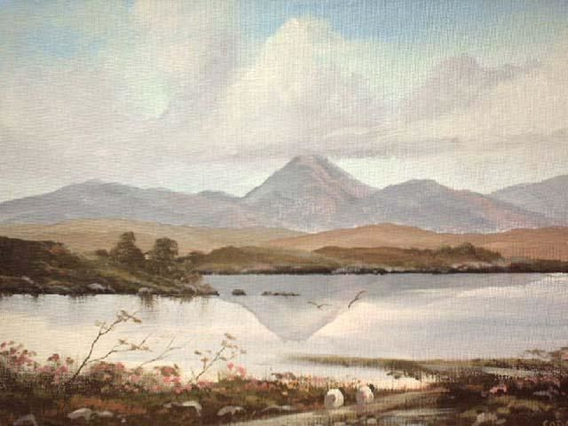 mountain reflection - Painting,  18x14 in ©2004 by Cathal O Malley -            connemara landscape