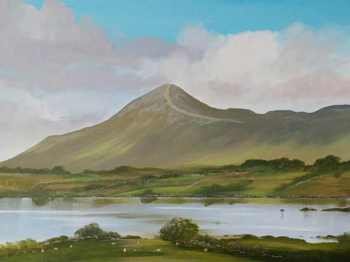 croagh patrick - Painting,  16x20x2 in ©2018 by Cathal O Malley -                                                            Realism, Canvas, Landscape, croagh, patrick, painting, irish, west, ireland, fine, art