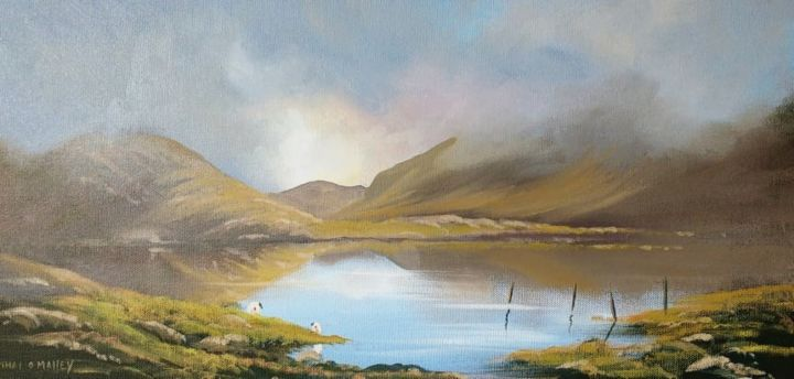 misty-morning-connemara - Painting,  12x24x2 in ©2018 by Cathal O Malley -                                                            Photorealism, Canvas, Landscape, connemara, light, painting, oil, art, irish