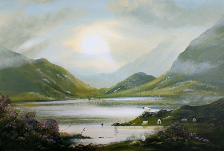 november light - © 2018 connemara, light, mountains, water, reflections, sheep, ireland Online Artworks