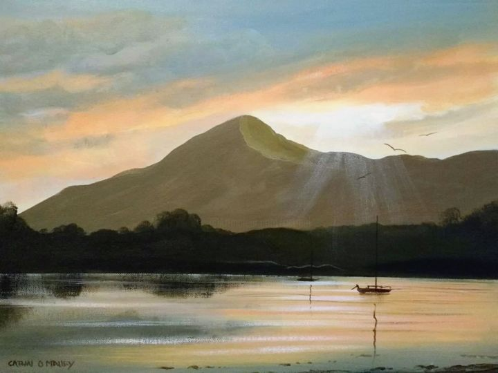 croagh patrick sunset - Painting,  16x20x2 in ©2018 by Cathal O Malley -                                                            Realism, Canvas, Landscape, croagh, patrick, mountain, west, ireland, painting, acrylic, fine, art