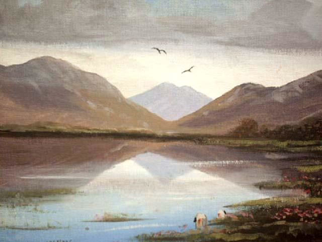 leenane landscape - Painting,  12x16 in ©2004 by Cathal O Malley -