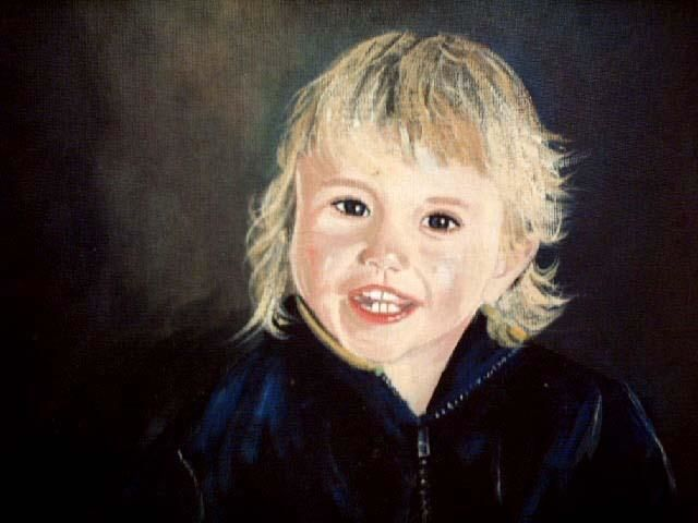oisin - Painting,  16x12 in ©2004 by Cathal O Malley -            portrait irish