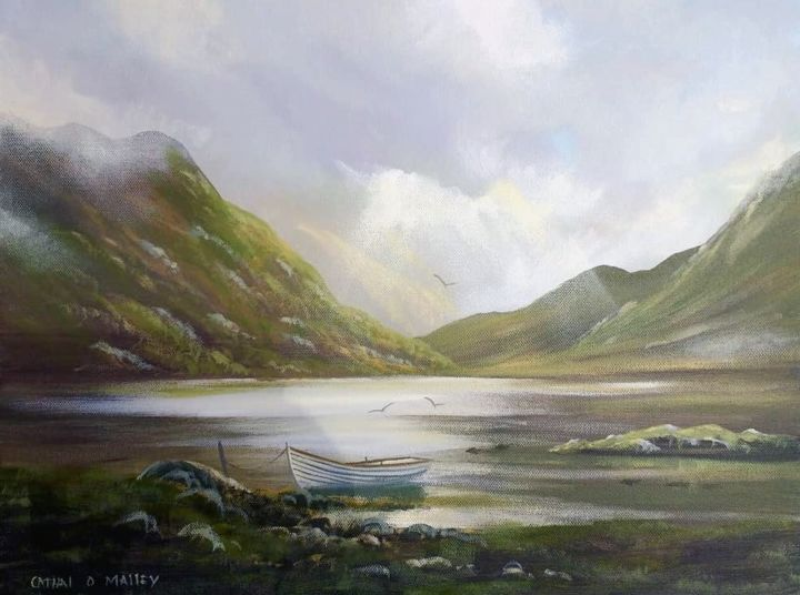 lakeside boat november - Painting,  16x20x2 in ©2018 by Cathal O Malley -                                                            Realism, Canvas, Landscape, lake, boat, ireland, rays, ssun, mountains, rocks, clouds
