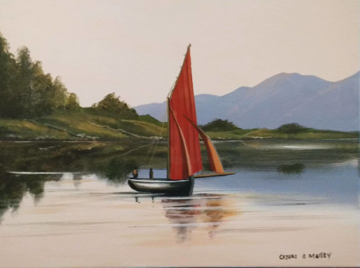 carna bay hooker  dec - Painting,  16x20x2 in ©2018 by Cathal O Malley -                                                            Realism, Canvas, Seascape, galway, hooker, boat, carna, connemara, west, ireland, irish, art, painting, artoist o malley