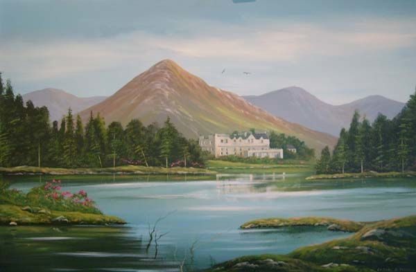 ballinahinch castle hotel - Painting,  36x24 in ©2006 by Cathal O Malley -