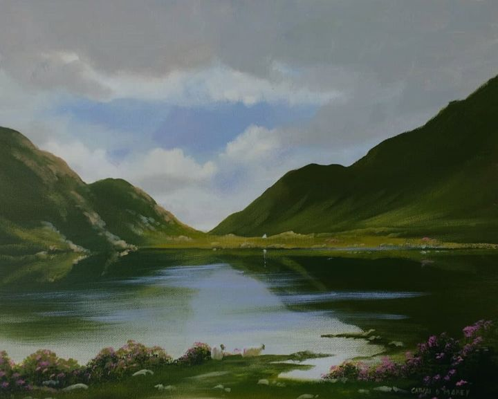 lakeside-sheep - © 2019 connemara, lake, sheep, mountains, ireland, irish, painting, water, reflections Online Artworks