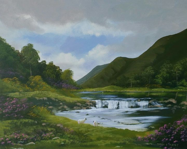 aashleagh-falls - Painting,  16x20x2 in, ©2019 by Cathal O Malley -                                                                                                                                                                                                                                                                                                                                                                                                                                                                                                                                                                                                                                      Hyperrealism, hyperrealism-612, Landscape, aashleagh, falls, painting, west, irish, ireland, water, waterfall, sheep, connemara