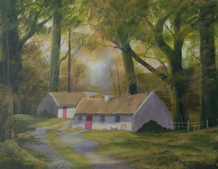 sunlight-cottages - © 2019 cottages, connemara, painting, irish, west, trees, forest, thatched, whiewashed Online Artworks