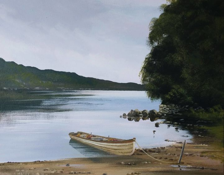 tranquil lake - Painting,  16x20x2 in ©2019 by Cathal O Malley -                                            Realism, Seascape, fanad, lighthouse, painting, irish, donegal, ireland, for, sale atlatic, wild, way