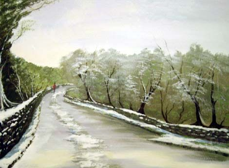 clifden snow - Painting,  24x18 in ©2007 by Cathal O Malley -