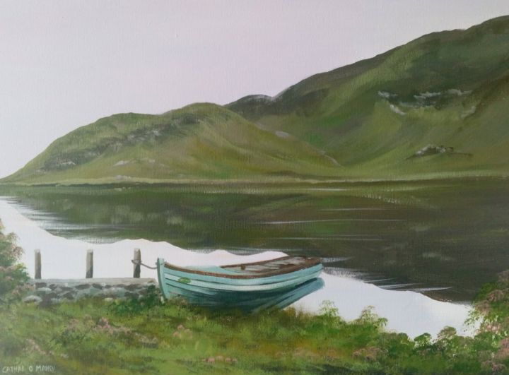 connemara shore - Painting,  18x24x2 in, ©2019 by Cathal O Malley -                                                                                                                                                                                                                                                                                                                                                                                                                                                                                                                                              Hyperrealism, hyperrealism-612, Landscape, connemara, painting, acrylic, oil, boat, west, art, artist