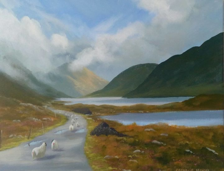 doolough valley - © 2019 doolough, valley, sheep, west, ireland, painting, famine, way Online Artworks