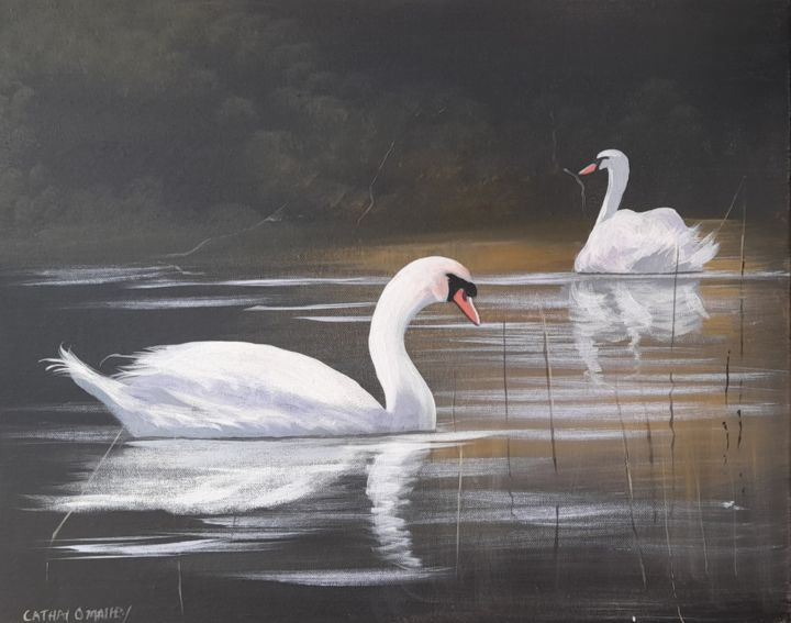 """Painting titled """"Ballynahinch swans…"""" by Cathal O Malley, Original Art, Acrylic"""