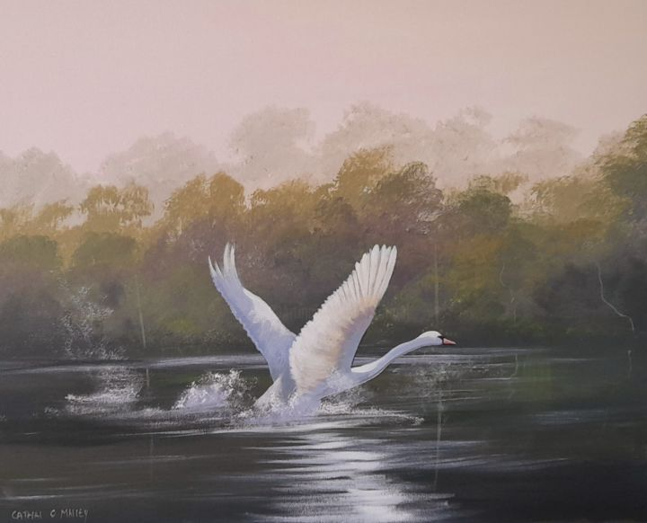 """Painting titled """"Swan rising"""" by Cathal O Malley, Original Art, Acrylic"""