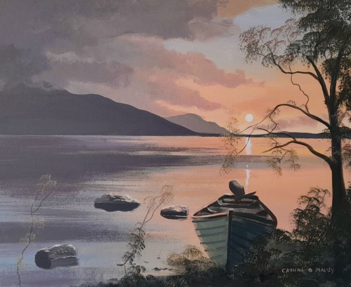 """Painting titled """"Killarney  lake"""" by Cathal O Malley, Original Art, Acrylic Mounted on Stretcher frame"""