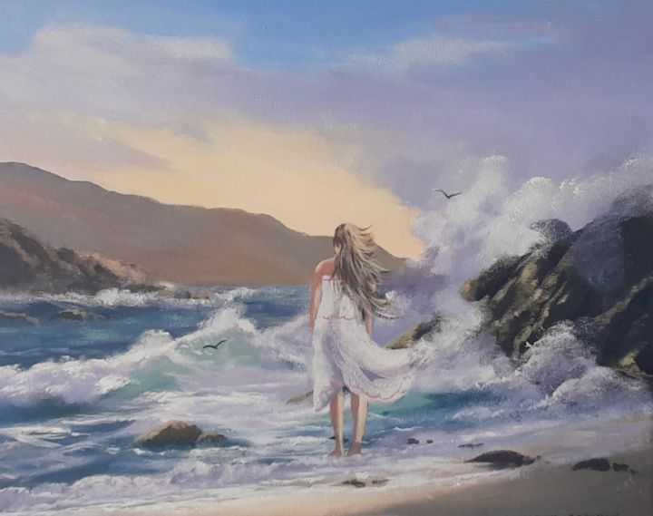 """Painting titled """"Keel waves"""" by Cathal O Malley, Original Art, Acrylic"""