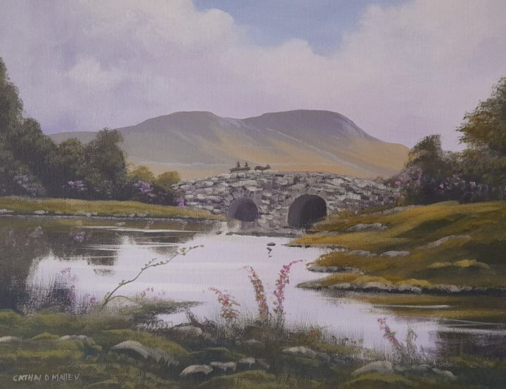"""Painting titled """"quiet man bridge su…"""" by Cathal O Malley, Original Art, Acrylic"""