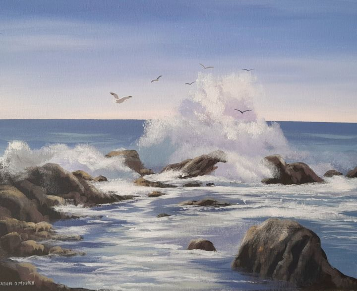 """Painting titled """"Omey waves"""" by Cathal O Malley, Original Art, Acrylic"""
