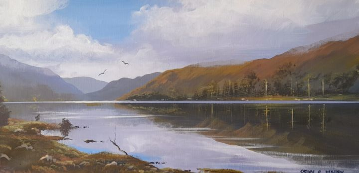 """Painting titled """"Glendalough misty m…"""" by Cathal O Malley, Original Art, Acrylic"""