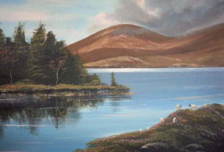 ballinahinch lake,co galway - Painting,  24x18 in ©2005 by Cathal O Malley -