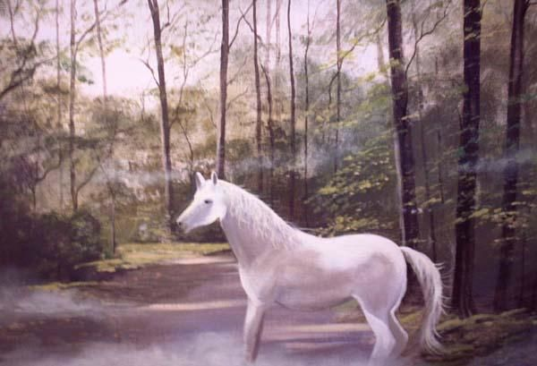 forest horse - Painting,  20x24 in ©2005 by Cathal O Malley -