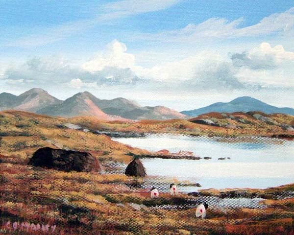 bog road roundstone - Painting,  8x10 in ©2007 by Cathal O Malley -
