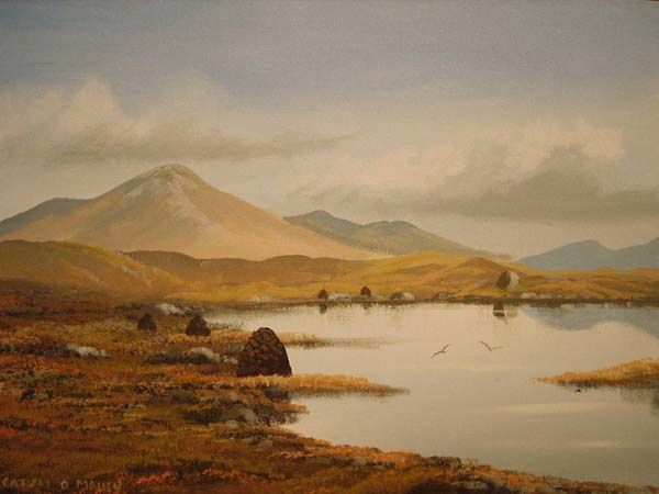 connemara bogland - Painting,  16x12 in ©2007 by Cathal O Malley -