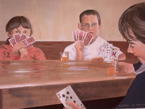 the card cheat - Painting,  14x18 in ©2004 by Cathal O Malley -