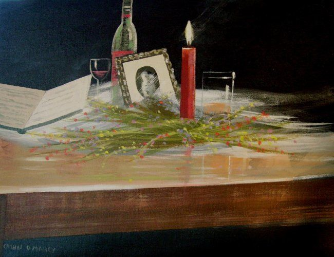 table of memories - Painting,  14x18 in ©2007 by Cathal O Malley -