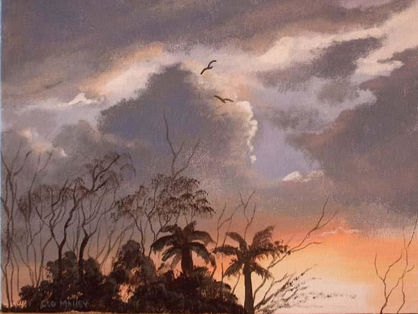 arizona sunset - Painting,  10x12 in ©2005 by Cathal O Malley -