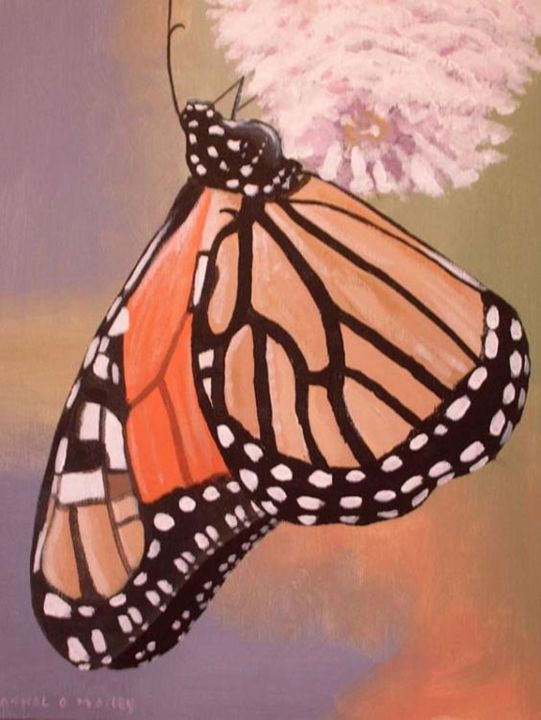 busy butterfly - Painting,  16x12 in ©2005 by Cathal O Malley -