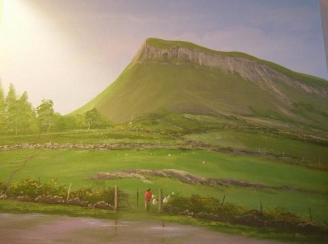 benbulben mountain,,co sligo - Painting,  16x20 in ©2008 by Cathal O Malley -