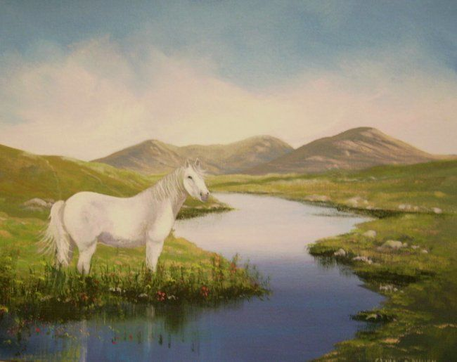 connemara pony by river - Painting,  16x20 in ©2008 by Cathal O Malley -                            Classicism, connemara pony, , , river mts connemara co galway ireland