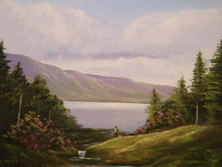 ballinahinch forest - Painting,  16x12 in ©2005 by Cathal O Malley -