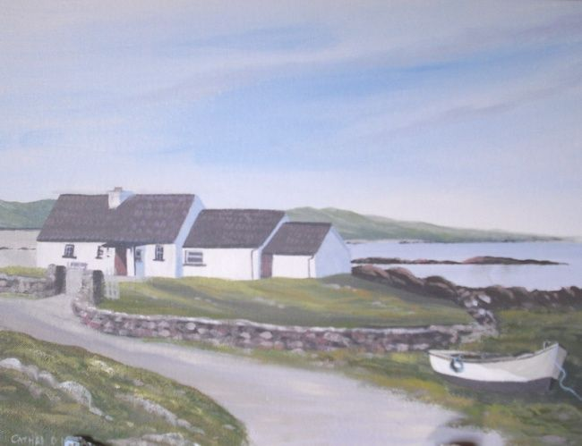 cottage by omey strand - Painting,  14x18 in ©2010 by Cathal O Malley -            cottage by omey strand co galway ireland