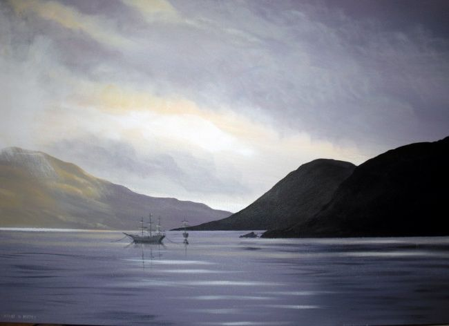 ghost ships - Painting,  30x40 in ©2010 by Cathal O Malley -