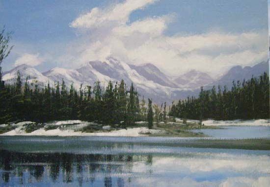 horse shoe lake - Painting,  24x18 in ©2010 by Cathal O Malley -