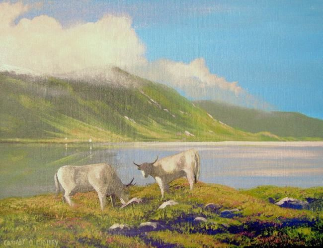 inagh valley cattle - Painting,  16x12 in ©2010 by Cathal O Malley -