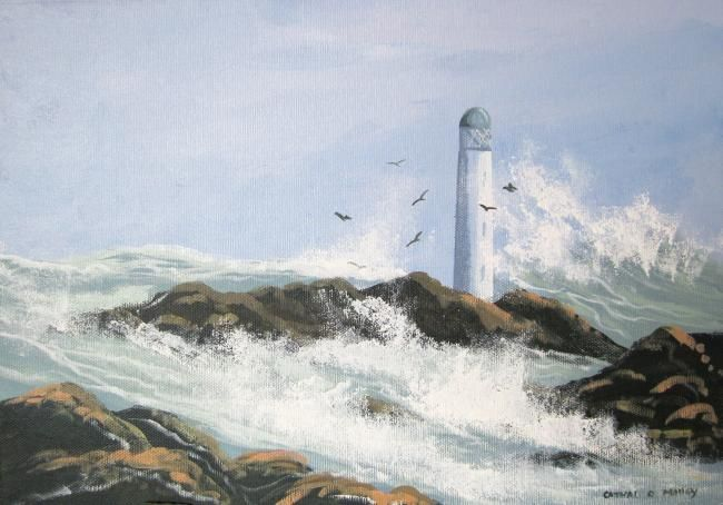 west coast lighthouse - Painting,  12x10 in ©2011 by Cathal O Malley -            waves crashing against a lighthouse