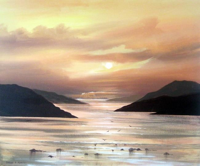 killary sunset may 11 - Painting,  24x18 in ©2011 by Cathal O Malley -            painting of killary leenane co galway