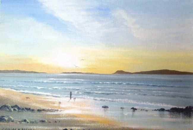 inishbofin sunset - Painting,  14x10 in ©2011 by Cathal O Malley -            painting of inishbofin, sunset