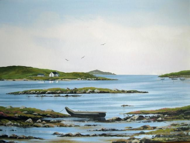 omey island july 2011 - Painting,  18x24 in ©2011 by Cathal O Malley -            omey island co galway