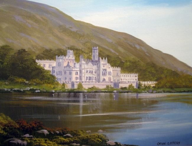 kylemore abbey,sept - Painting,  20x16 in ©2011 by Cathal O Malley -            painting of kylemore abbey co galway ireland