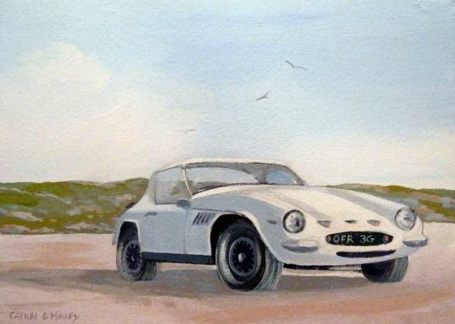 tvr tuscan - Painting,  14x10 in ©2011 by Cathal O Malley -            a tvr tuscan car